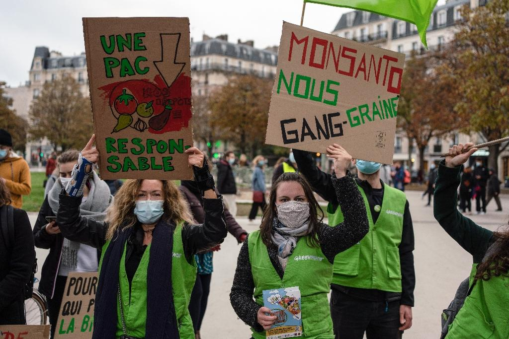 """Manifestation pour """"repenser l'agriculture"""", avant des discussions la semaine prochaine sur la prochaine politique agricole commune (PAC), le 17 octobre 2020 à Paris"""