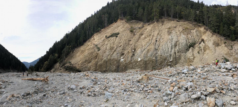 Le vallon de la Madone des Fenestre à Saint-Martin-Vésubie, après le passage de la tempête Alex.