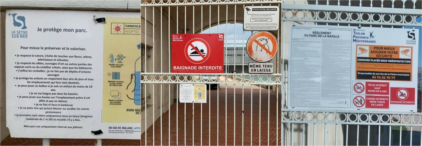 """Fin septembre, cette petite pancarte (photo au centre) a été posée sur la grille de la Porte des chantiers (les deux photos de gauche). On peut y lire qu'il est possible de """"promener son chien uniquement tenu en laisse"""". Et ce, alors qu'une tête de chien barrée figure pourtant sur cette même grille. Quelques jours plus tard, tous ces panneaux ont été retirés au profit d'une plaque rappelant le règlement et portant la mention : """"Chiens interdits, même tenus en laisse"""" (photo de droite)."""
