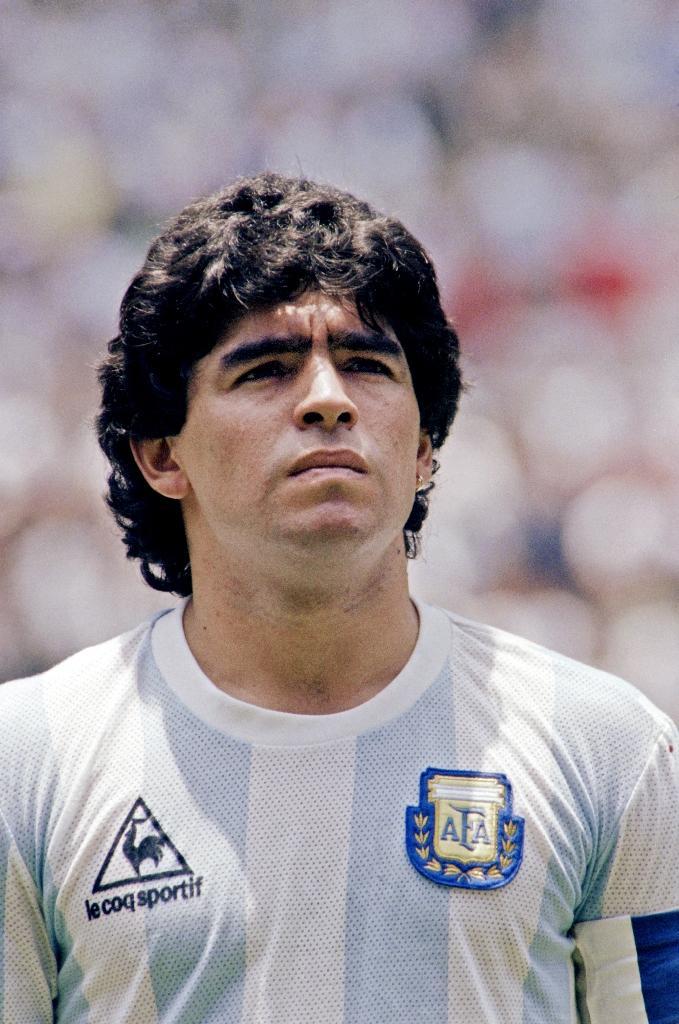 Le milieu argentin Diego Maradona avant la finale de la Coupe du monde 1986 contre l'Allemagne de l'Est, à Mexico, le 29 juin