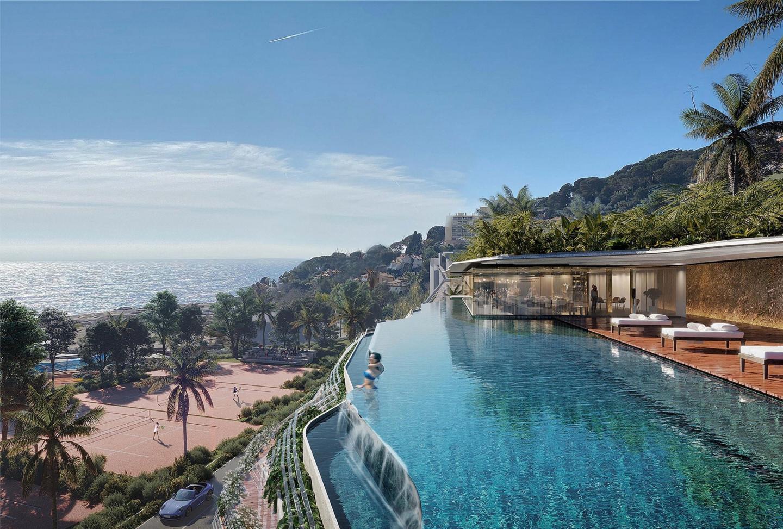 L'hôtel, avec piscine sur le toit, surplombera les courts de tennis, la plage Marquet et la mer Méditerranée.