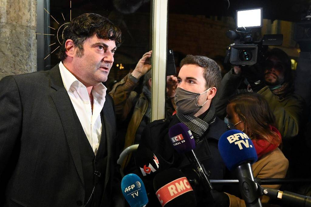 Randall Schwerdorffer l'avocat de Jonathann Daval répond aux journalistes devant le tribunal à Vesoul, le 21 novembre 2020