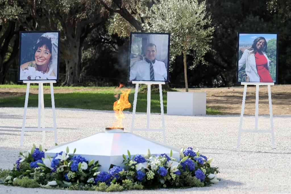 Les portraits des trois victimes de l'attentat de la basilique Notre-Dame-de-l'Assomption , lors de l'hommage rendu à Nice, le 7 novembre 2020