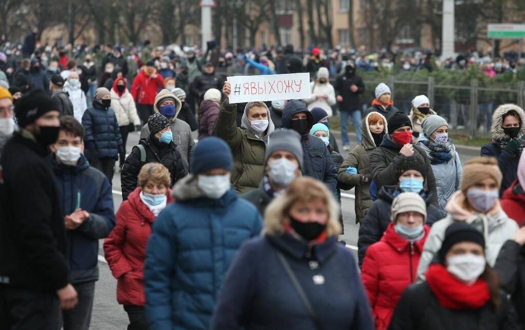 Manifestation de l'opposition à Minsk, le 15 novembre 2020 au Bélarus