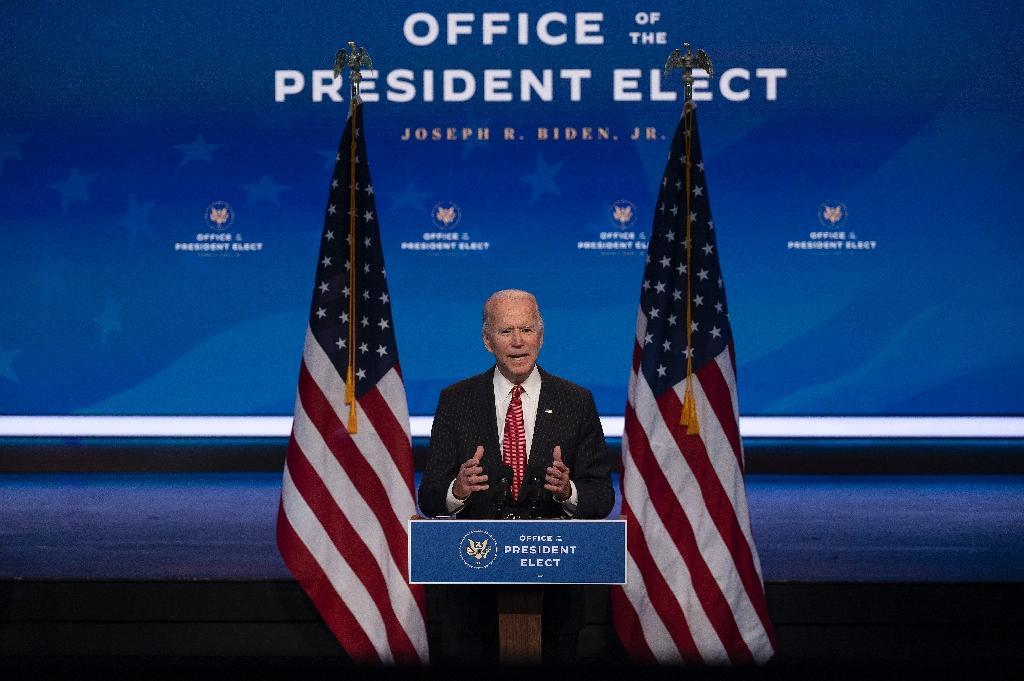 Le président élu américain Joe Biden lors d'un discours à Wimington, dans le Delaware, le 19 novembre 2020