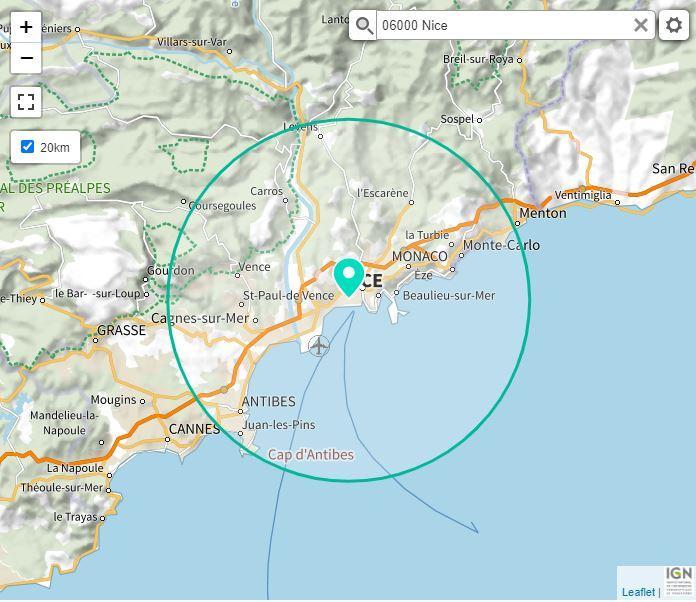La zone des 20 km à vol d'oiseau, calculée depuis le centre de Nice avec la nouvelle carte proposée par Géoportail, site gouvernemental.