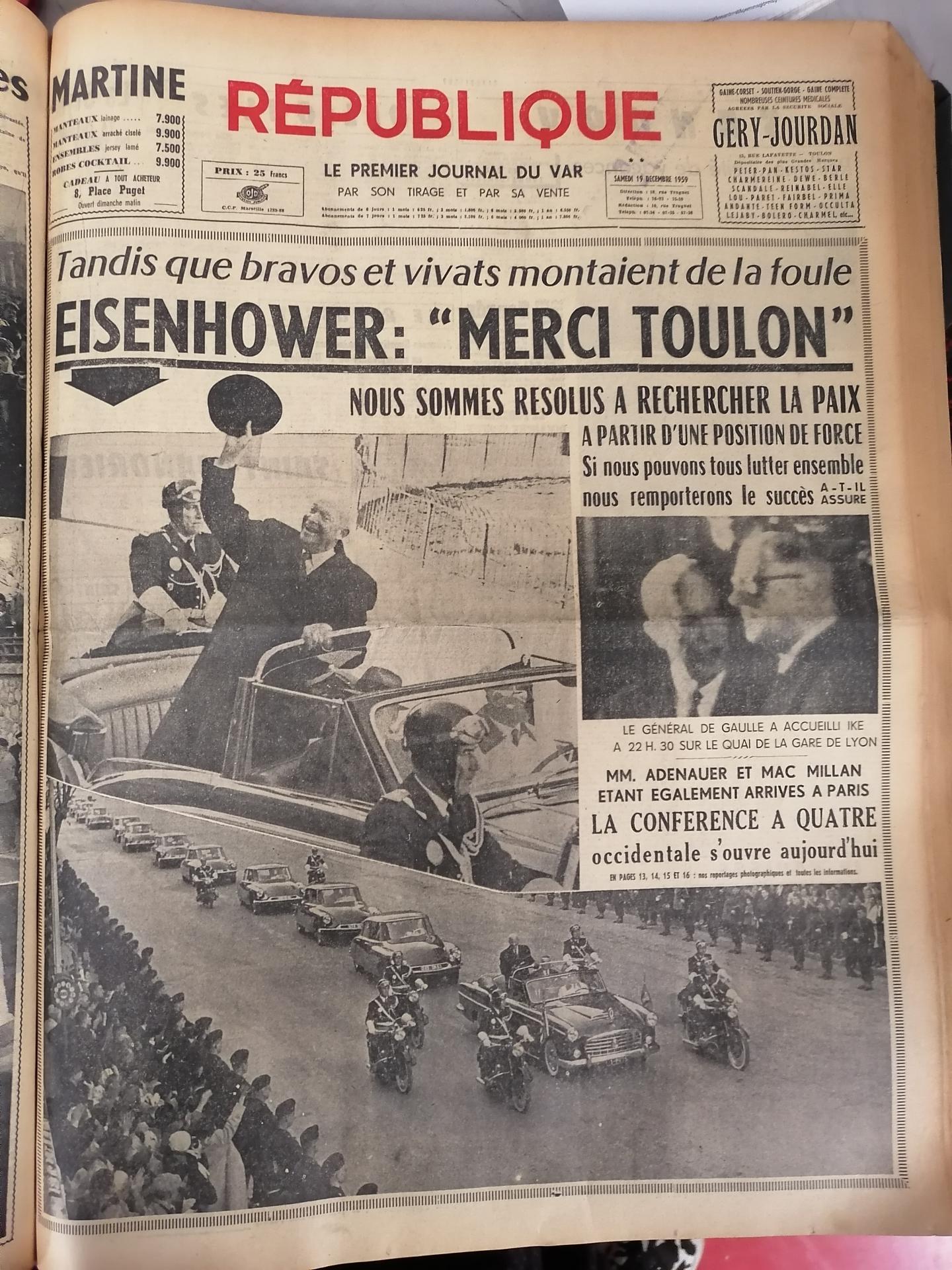 La Une de République en 1959.