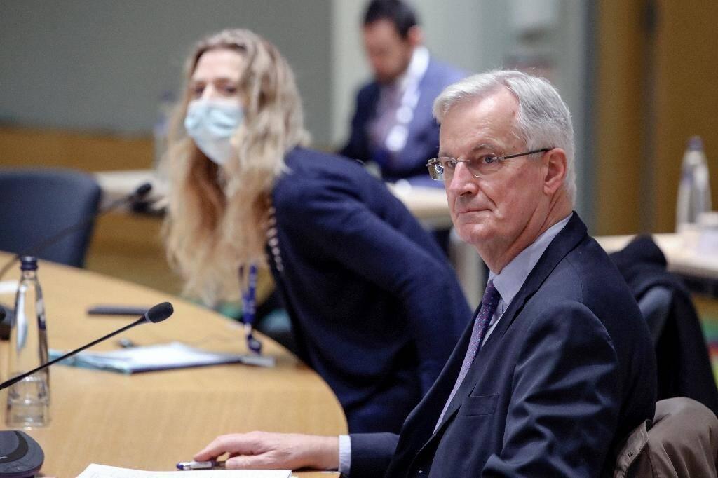 Michel Barnier assiste  un nouveau round de discussions sur le Brexit depuis Bruxelles, le 14 décembre 2020