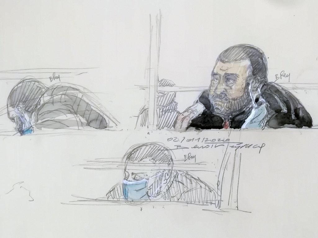 Croquis d'audience réalisé le 2 décembre 2020 montrant Ali Riza Polat, principal accusé au procès des attentats de janvier 2015