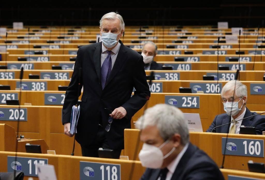 Le négociateur européen Michel Barnier lors d'un débat au Parlement européen à Bruxelles le 18 décembre 2020