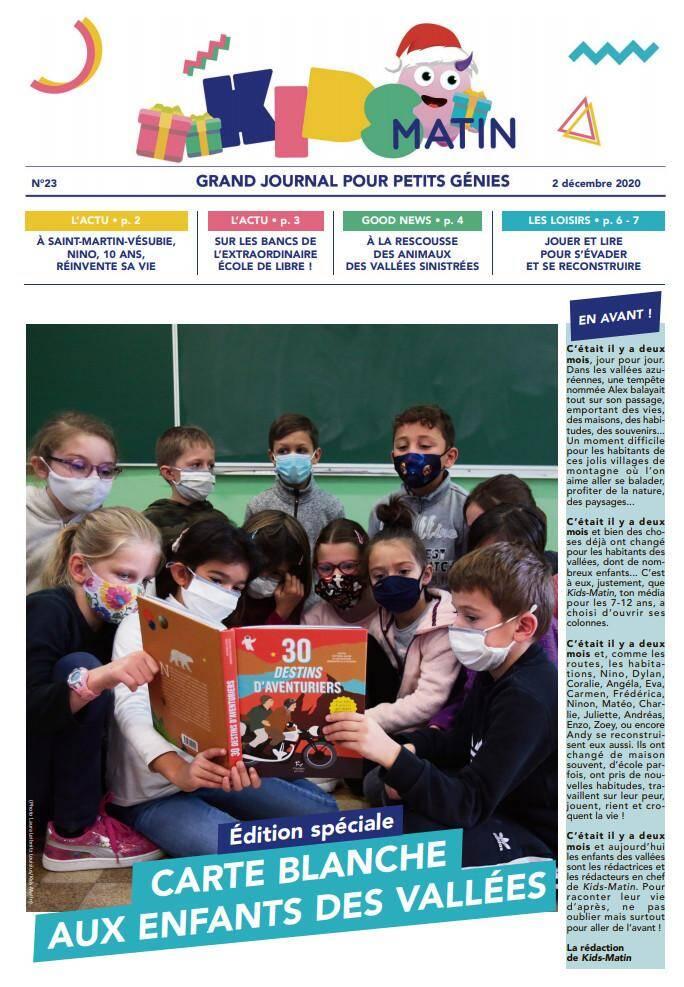 """L'édition spéciale """"enfants des vallées"""" dans tous les journaux du groupe Nice-Matin ce mercredi 2 décembre."""