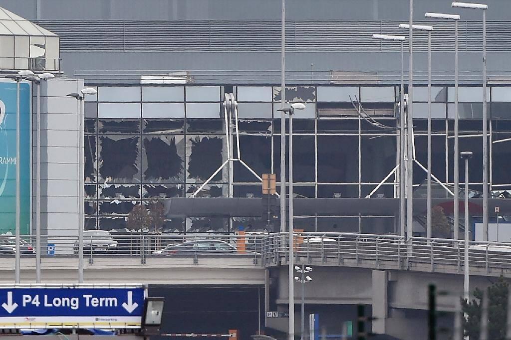 L'aéroport de Bruxelles Zaventem après le double attentat à la bombe du 22 mars 2016