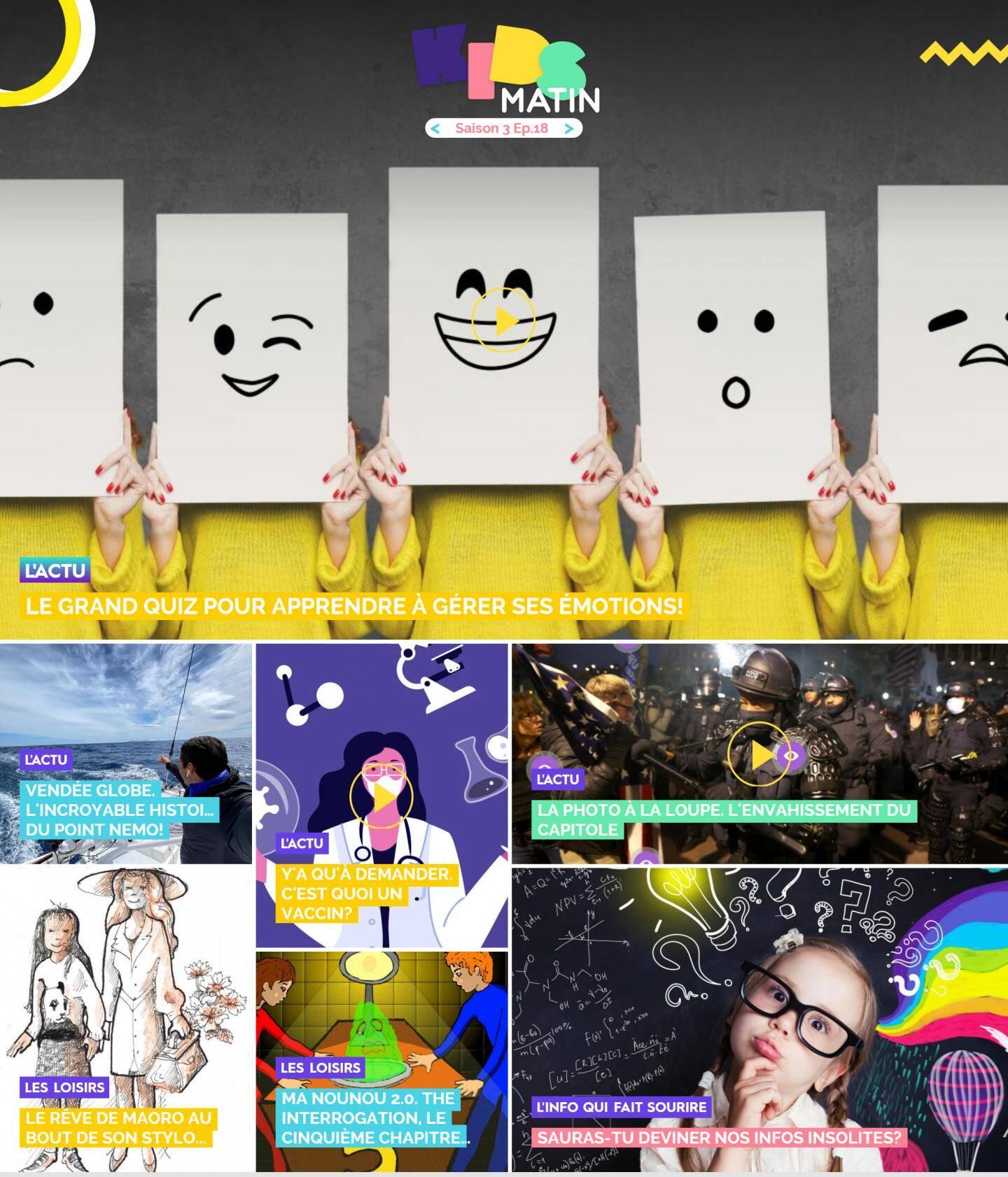 La page d'accueil de Kidsmatin.com du 13 janvier 2021.