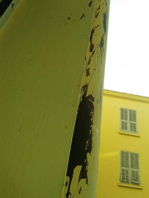 Dans la nuit d'Halloween, un immeuble de l'avenue Emilia, qui se situe dans le quartier Gambetta, a été bombardé par des desserts volants non identifiés et des œufs pourris !(Photos L.B.)