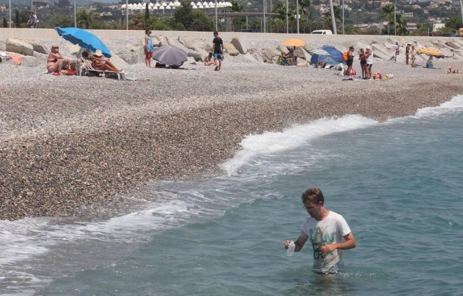 Le protocole impose d'aller prélever dans une colonne d'eau d'un mètre à une profondeur de 20 à 30 centimètres. C'est donc, de l'eau jusqu'à la taille qu'opère le préleveur, comme ici plage de l'hippodrome.