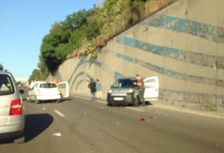 Accident sur l'A8 à Nice au niveau d'Antibes