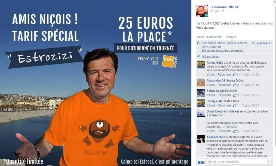 """Le photo-montage de Christian Estrosi par Dieudonné pour son tarif """"spécial Estrozizi""""."""