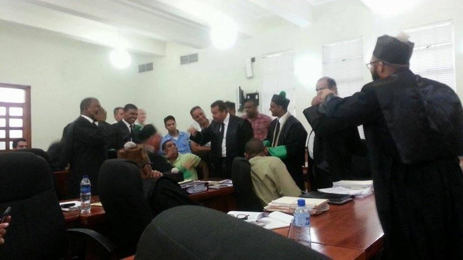 Les débats, parfois agités, se tiennent au tribunal de Saint-Domingue (ici le 16 juillet) depuis le 29 mai. Le volet dominicain de l'affaire Air Cocaïne pourrait être clos à la mi-août.(DR)