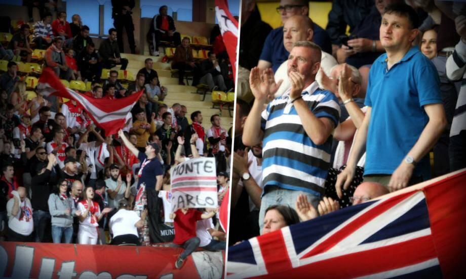 """Des supporters, rassemblés derrière une bannière """"Ultras Monaco"""" et les Anglais ont animé le match."""
