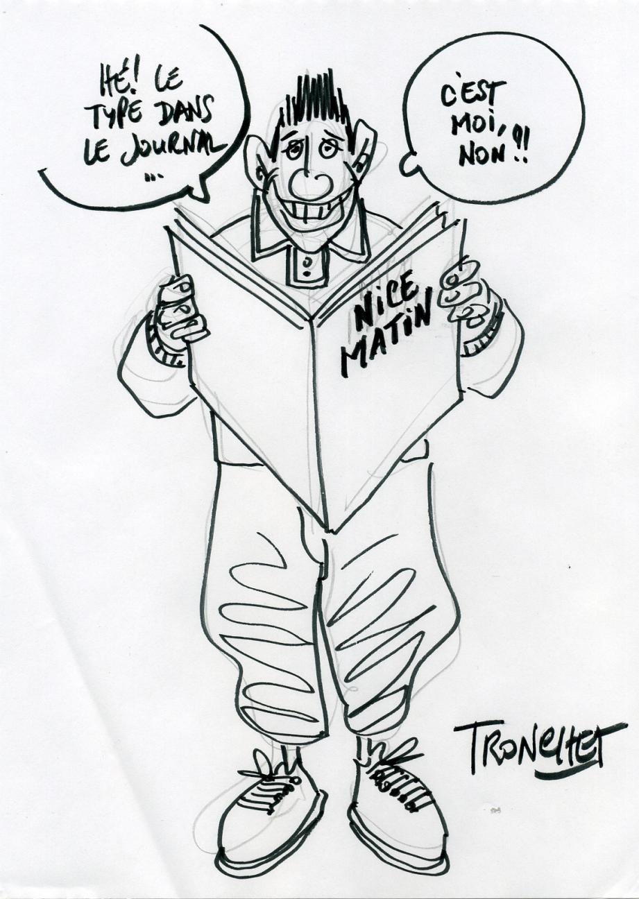 Un clin d'œil du dessinateur de Jean-Claude Tergal aux lecteurs bédéphiles de Nice-Matin.