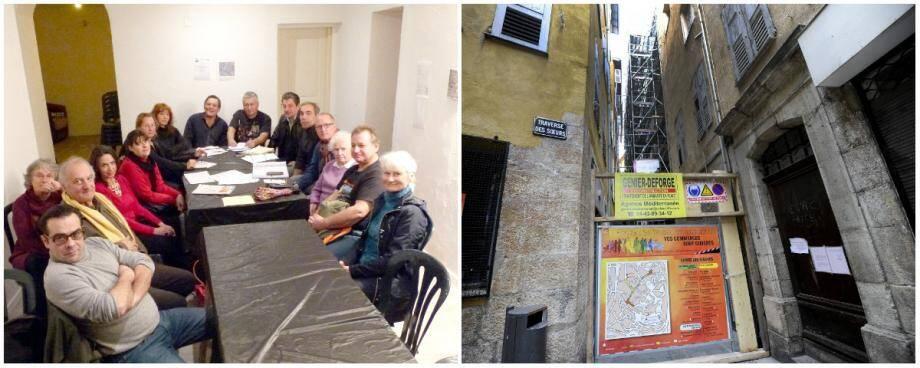 A gauche : Seize des cinquante adhérents de l'association se sont réunis notamment pour préparer la réunion du 25 février prochain à laquelle les convie le maire. A droite :  Depuis le 18 novembre, la rue Droite est barrée au niveau du 1, rue Mougins-Roquefort. Un échafaudage maintient la structure fragilisée.