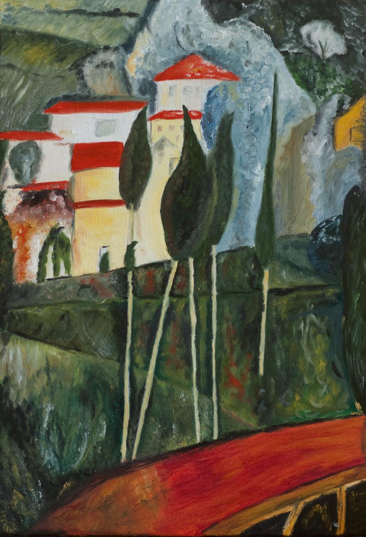 Paysage peint à Cagnes.DR