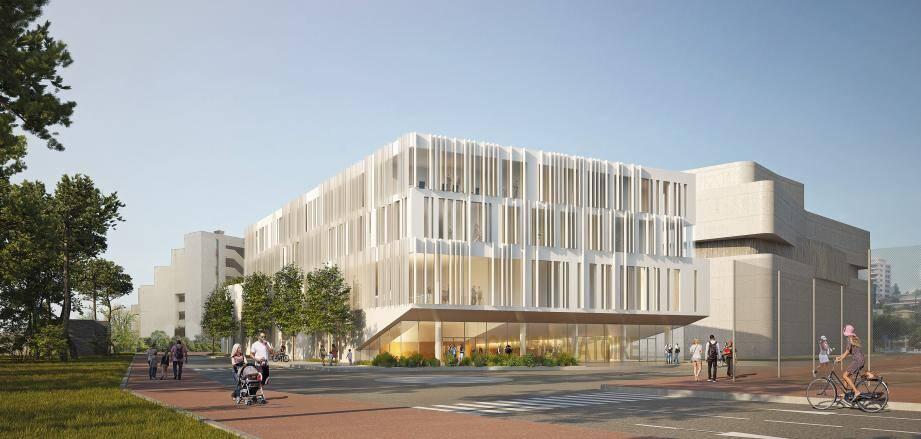 Le futur conservatoire devra composer avec un voisin prestigieux : Anthéa. Ainsi, le futur bâtiment, construit sur 5 160 m2, affichera une hauteur de 17 mètres pour préserver les terrasses du théâtre.