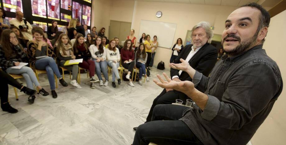 Le comédien François-Xavier Demaison à la rencontre des lycéens de Don Bosco à Nice.
