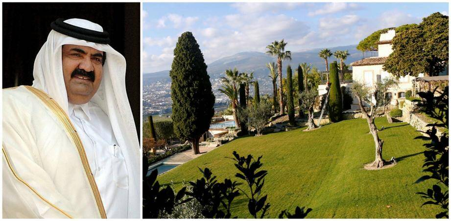 A gauche: Cheikh Hamad Ben Khalifa Al Thani. A droite: la Vignette, une de ses vastes priopriétés.