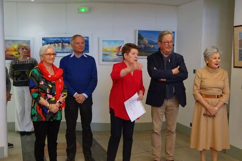 Présentation de l'exposition par Éliane Castells-Puget entourée de Denise Gay, Jean-Marc Tedone, Yann Tainguy et Colette Gluck.