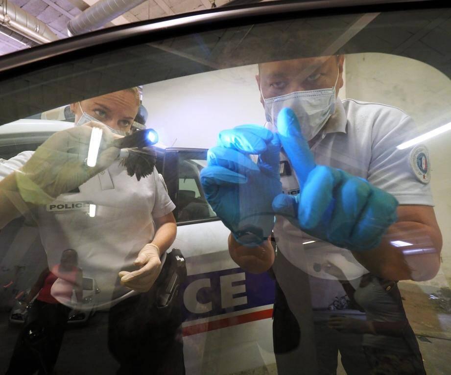 Relevé d'une empreinte papillaire sur une vitre de voiture avec de la poudre volatile et un adhésif transparent. Il existe des lampes à plusieurs longueurs d'onde pour repérer les traces.