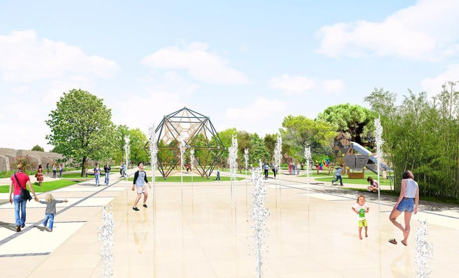 Perspective avec au premier plan la fontaine et, à droite, la fin du labyrinthe végétal.