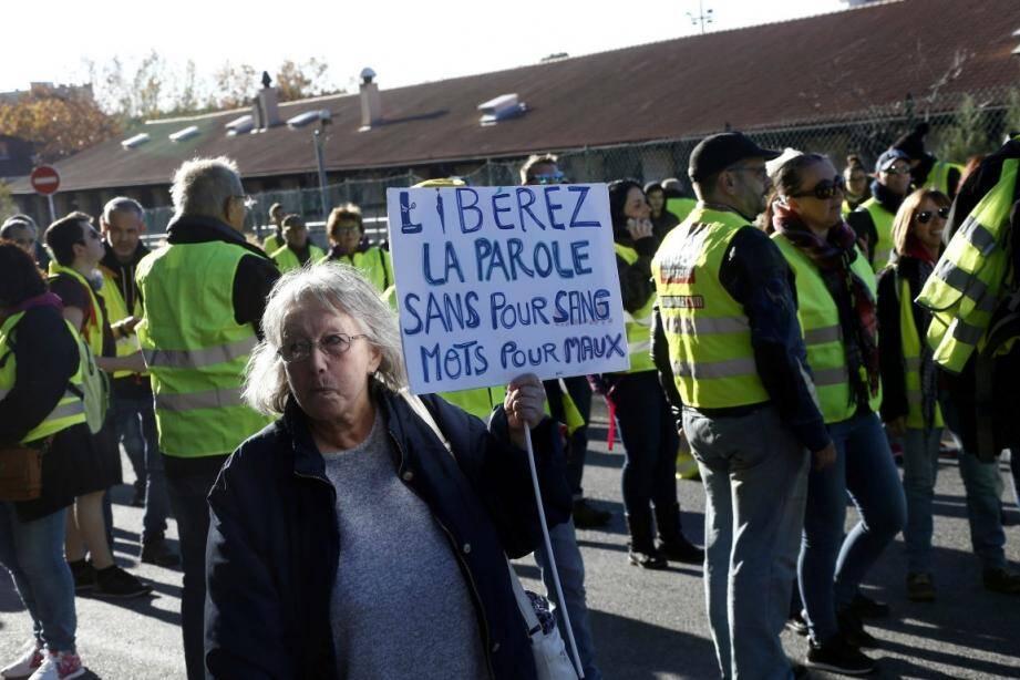 Manifestation de Gilets jaunes à Toulon, le 12 janvier.