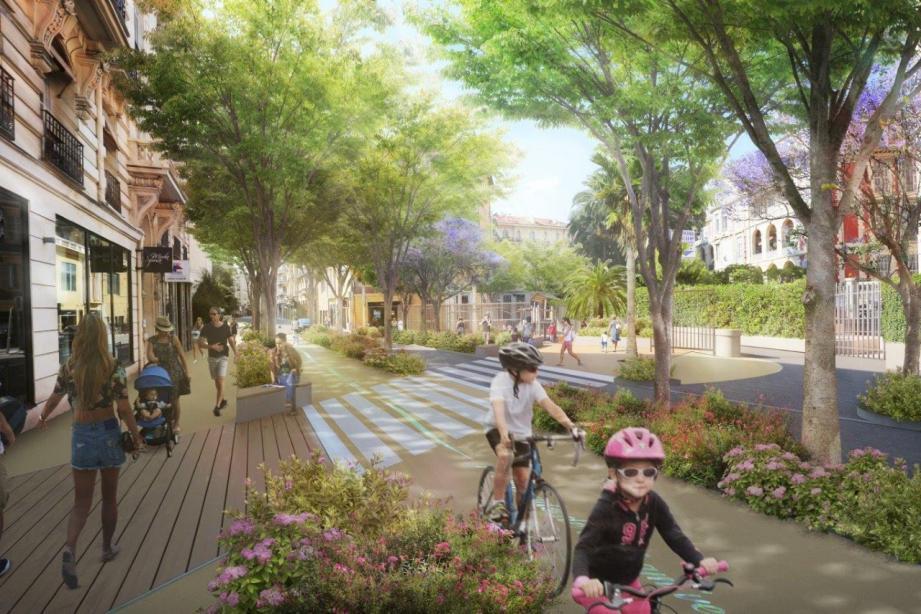 Ce à quoi pourrait ressembler la future trame verte, ici, avenue Maréchal-Joffre. (Image de synthèse Métropole Nice-Côte d'Azur)
