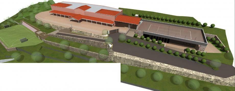 La future salle multisports apparaît à droite coiffée du terrain de tennis qui couronnera ce projet créé par l'architecte Mathieu Ferla.(Image de synthèse)