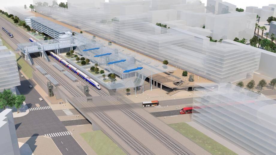 La future gare de Nice-Aéroport, vue depuis sa face sud-Est, au sein d'un futur pôle multimodal au cœur du Grand Arénas.