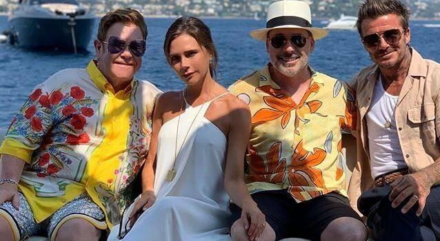 Elton John, Victoria Beckham, David Furnish et David Beckham.