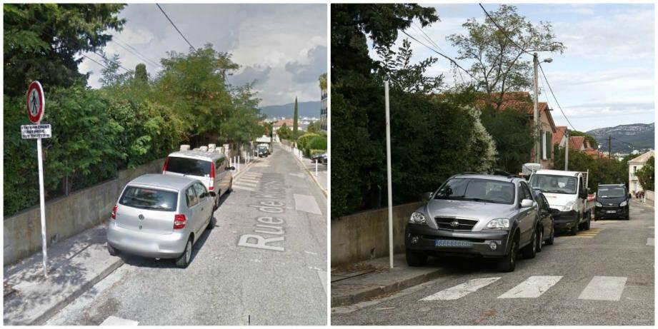Avant-après: le panneau d'accès interdit aux piétons, habituellement placé le long des voies rapides, a été retirée de la rue de Kerguelen.