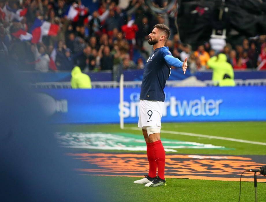 Olivier Giroud a inscrit son 38e but en sélection  contre la Turquie.