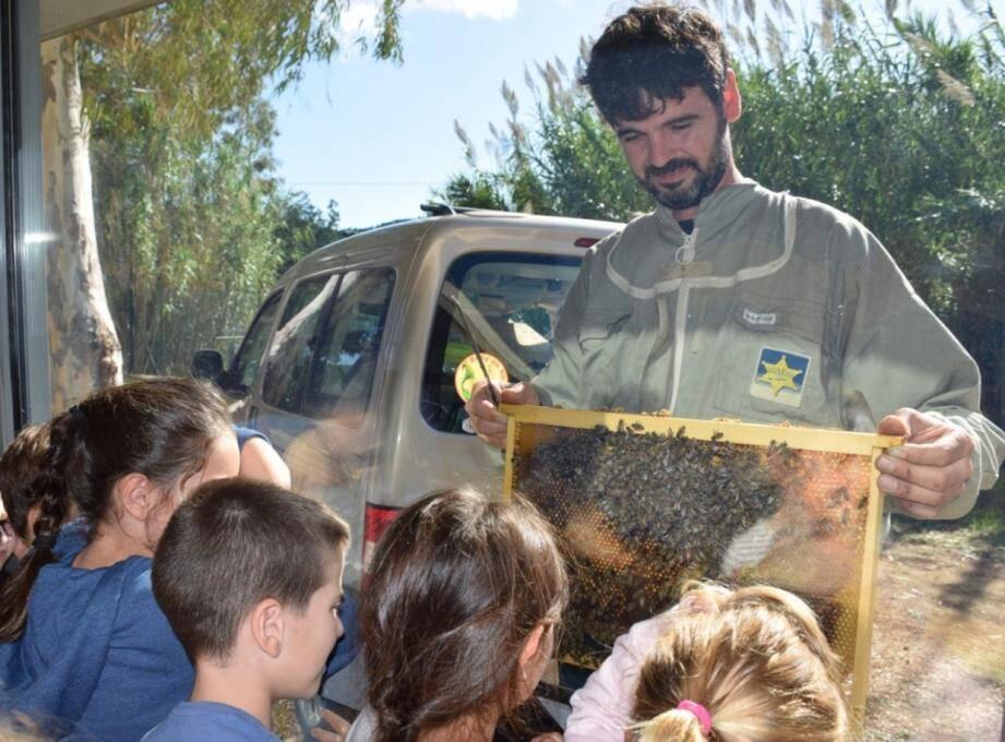 Rémi Boulet a présenté une ruche vitrine aux enfants.