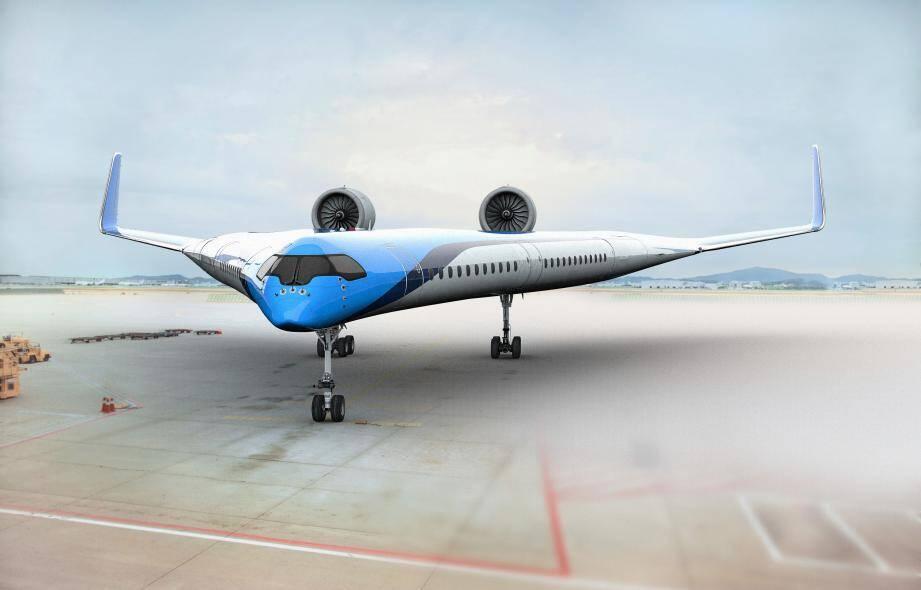 Le projet Flying V, développé pour KLM, représente une possibilité d'avion pour l'avenir, dont la forme permettrait de consommer 20% de carburant en moins.(Illustration KLM)