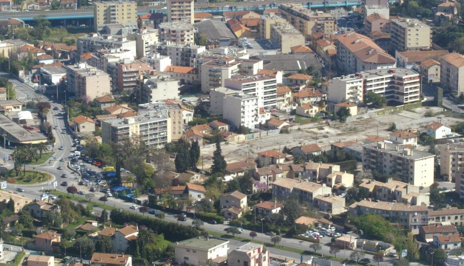 Le projet tel qu'il a été montré sur écran en conseil municipal. Il relie le rond-point Bachaga Boualam de l'avenue des Alpes (à gauche) à l'avenue de Grasse (à droite). Son nom Lambert-May vient de la friche et des propriétés. (Visuel Métropole)