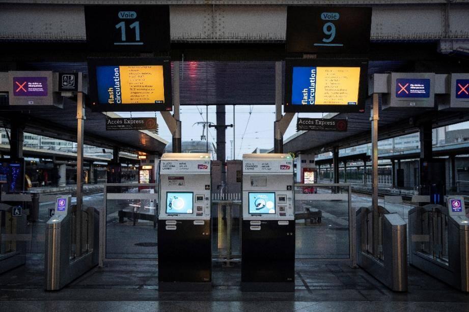 Gare de Lyon à Paris le 8 décembre 2019, au quatrième jour de la grève contre la réforme des retraites