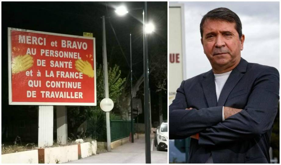 """Sur près de 62 panneaux publicitaires, Michel-Ange Flori salue le """"courage"""" des personnels en première ligne pour la lutte contre l'épidémie de coronavirus."""