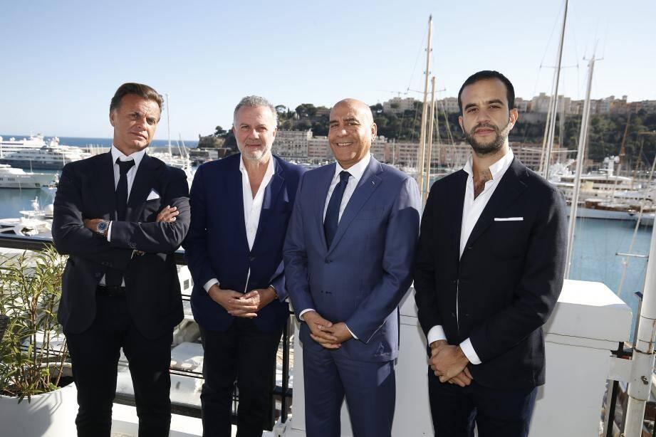 Alain et Jean Madar, Lofti Maktouf et David-Emmanuel Cohen, sur la terrasse du Port Palace.