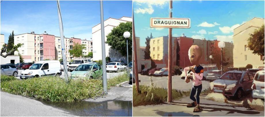 À gauche, une vue de l'entrée de la cité Saint-Hermentaire. À droite , l'image issue du clip animé diffusé le 9 mai par l'artiste marseillais. Aucun doute possible: c'est le même endroit.