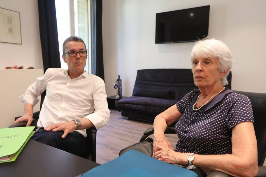 Michèle Capdevielle, partie civile, avec son avocat niçois, Me Franck de Vita.