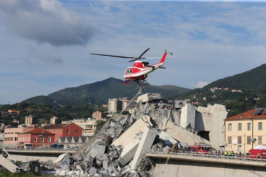 Le 14 août 2108, le pont Morandi à Gênes s'effondre, faisant 43 morts.
