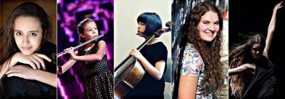 De gauche à droite: la jeune pianiste monégasque, Stella Almondo; la jeune flûtiste vençoise, Mélodie Seguin; la jeune violoncelliste, Lynn Renouil-Hata; la mezzo-soprano Aviva Manenti et Mathilde Valin, originaire de Saint-Paul.