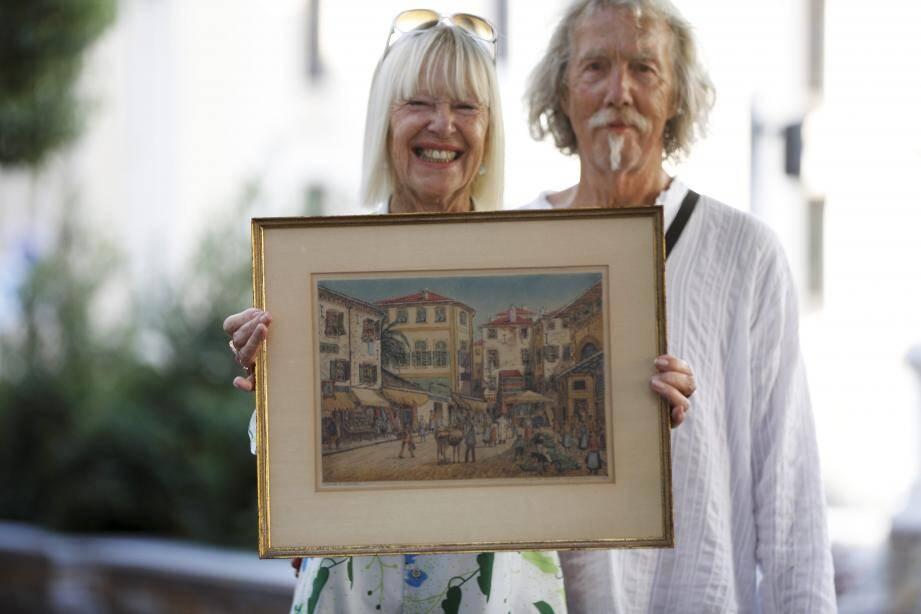 Bertie Teutscher van Avezaath et le tableau, aux côtés de son mari Sebastiaan.